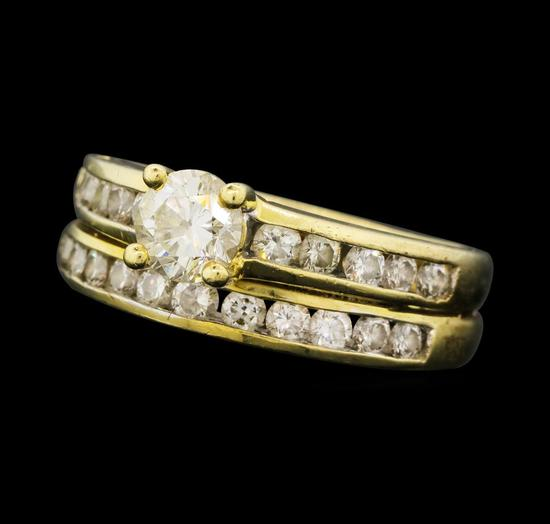 1.35 ctw Diamond Ring Soldered To Wedding Band - 14KT Yellow Gold