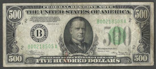 1934 $500 Federal Reserve Note New York