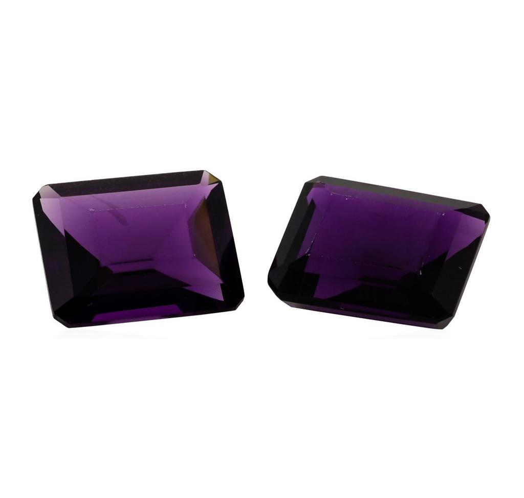 10.58 ctw. Natural Emerald Cut Amethyst Parcel of Two