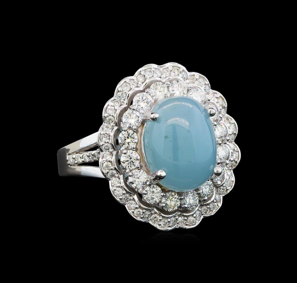 14KT White Gold 4.44 ctw Chrysoprase and Diamond Ring