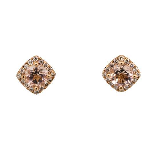 1.00 ctw Morganite and Diamond Earrings - 14KT Rose Gold