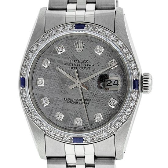 Rolex Mens Stainless Steel Meteorite Diamond And Sapphire Datejust Wristwatch