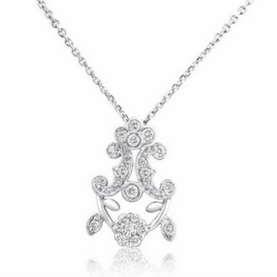 18k White Gold 0.32CTW Diamond Pendant, (SI3 /H-I)
