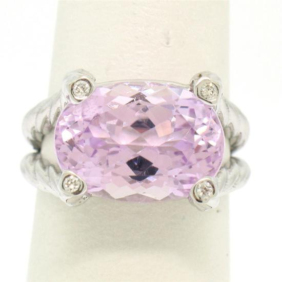 14k White Gold Twisted Cable 8.5 ctw Oval Kunzite Solitaire Ring 4 Diamond Accen