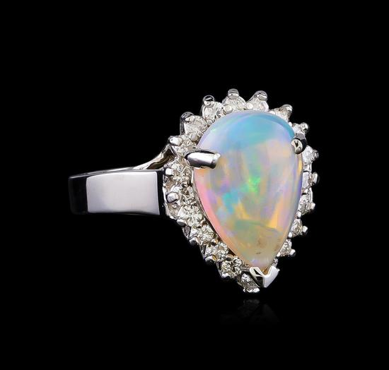 3.15 ctw Opal and Diamond Ring - 14KT White Gold