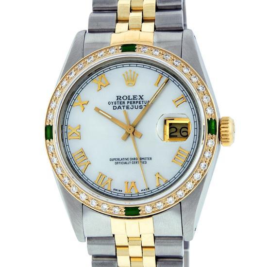 Rolex Mens 2 Tone 14K Mother Of Pearl Diamond & Emerald 36MM Datejust Wristwatch