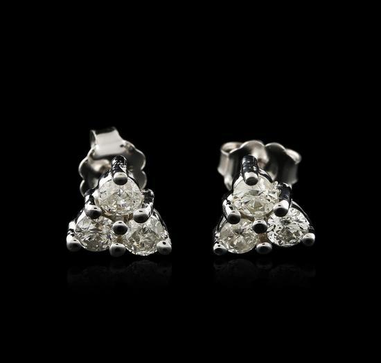 14KT White Gold 0.80 ctw Diamond Earrings