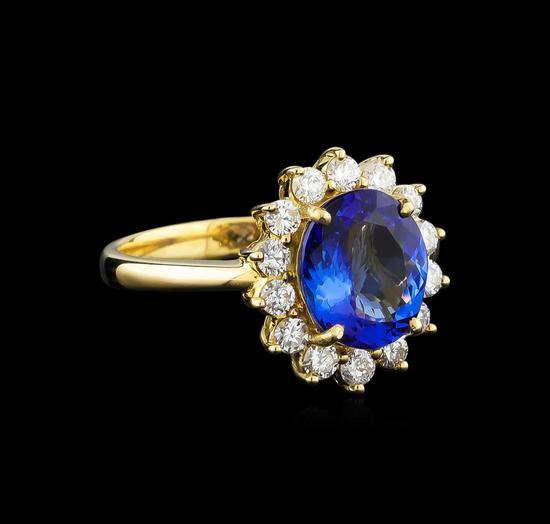 14KT Yellow Gold 2.24 ctw Tanzanite and Diamond Ring
