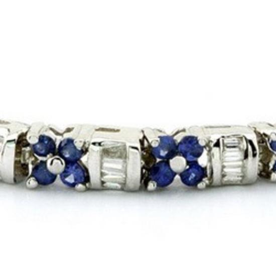 14k White Gold 3.54CTW Blue Sapphire and Diamond Bracelet, (SI2-SI3/H-I)