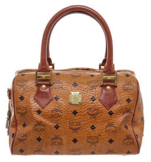MCM Tan Cognac Visetos Brown Leather Trim Vintage Boston Bag