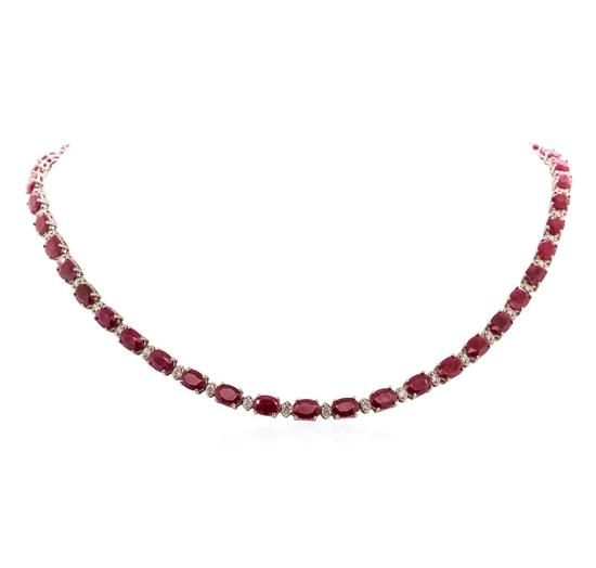 14KT White Gold 37 ctw Ruby 1.70 ctw Diamond Necklace