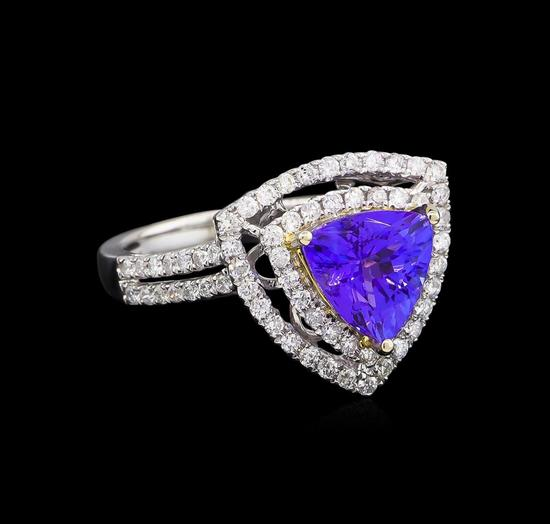 14KT Two-Tone Gold 2.25 ctw Tanzanite and Diamond Ring