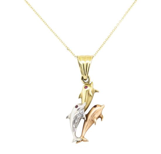 0.14 ctw Diamond and Ruby Dolphin Pendant with Chain - 14KT Yellow, White, and R