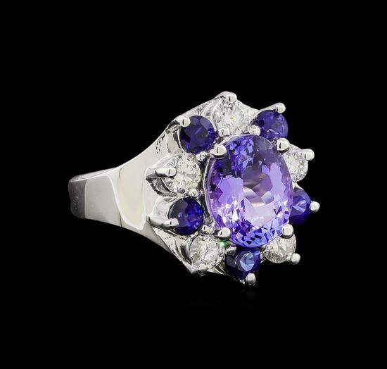 14KT White Gold 2.48 ctw Tanzanite, Sapphire and Diamond Ring