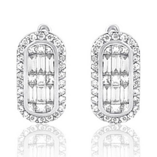 14k White Gold 1.13CTW Diamond Earrings, (SI3/VS1-VS2/G-H/H-I)