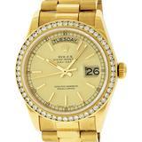 Rolex Mens 18K Yellow Gold 1.0 ctw Channel Set Diamond Day Date President Wristw