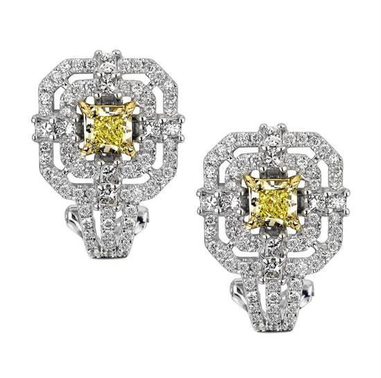 18k Two Tone Gold 1.85CTW Diamond Earrings, (VS1-SI1/SI1/VS2 /G-H/G /Nat-yel)
