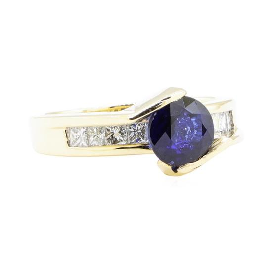 2.14 ctw Sapphire And Diamond Ring - 14KT Yellow Gold