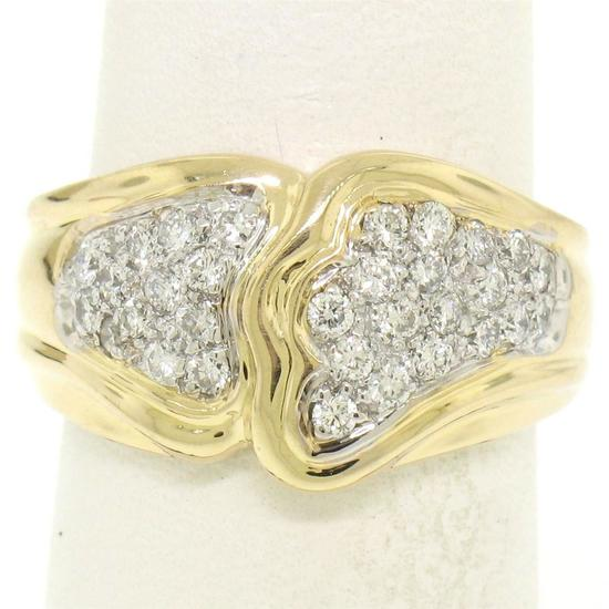 18K Yellow Gold 0.50 ctw F VS1 Pave Set Round Diamond Wavy Wide Band Ring