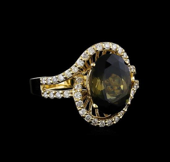 4.85 ctw Tourmaline and Diamond Ring - 14KT Yellow Gold