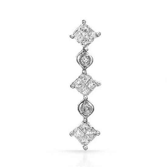 14k White Gold 0.51CTW Diamond Pendant, (I2-I3/I2/G-H)