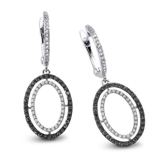 14k White Gold  0.76CTW Diamond and Black Diamonds Earrings