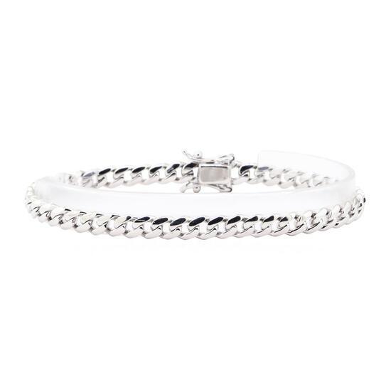 Curb Link Bracelet - 14KT White Gold