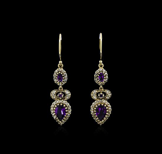2.61 ctw Amethyst and Diamond Earrings - 18KT Yellow Gold