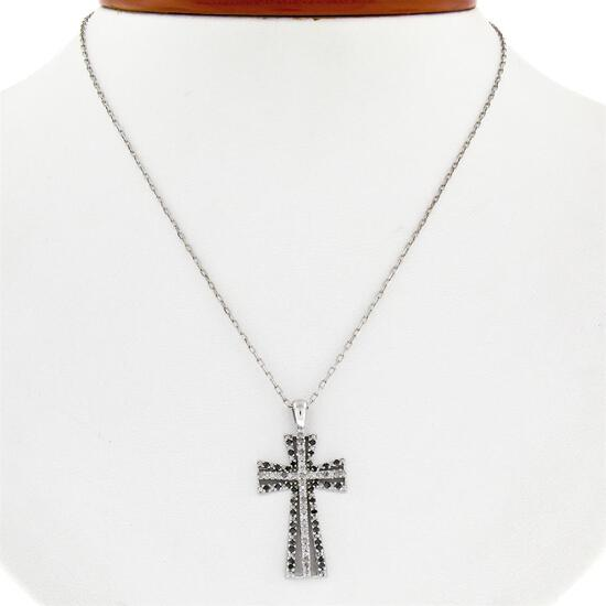 14K White Gold 0.33 ctw Single Cut White & Black Diamond Cross Pendant w/ Chain