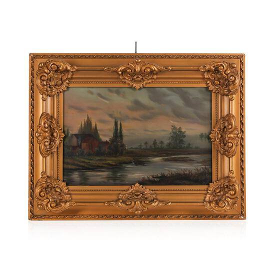 Original Oil on Board Landscape, American School