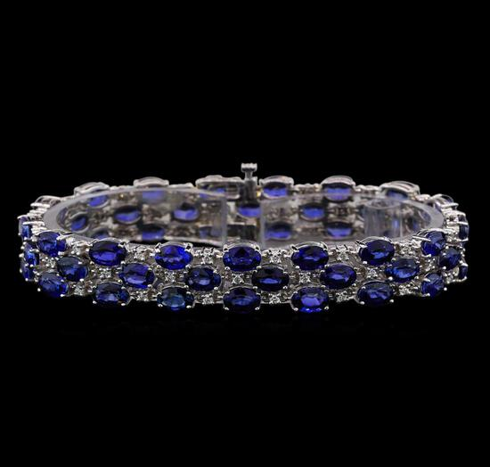 14KT White Gold 32.00 ctw Sapphire and Diamond Bracelet