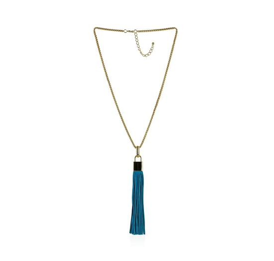 Leather Tassel Square Pendant Chain Necklace - Gold Plated