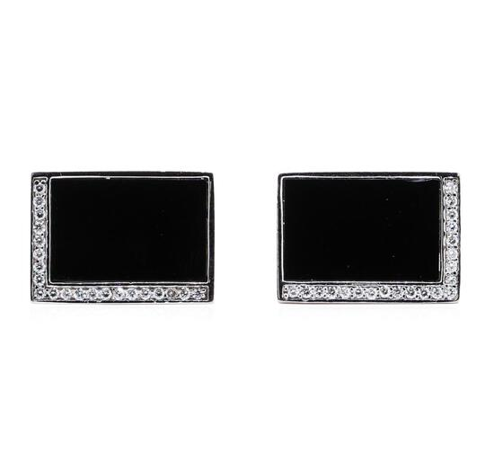 0.33 ctw Diamond and Onyx Cufflinks - 14KT White Gold