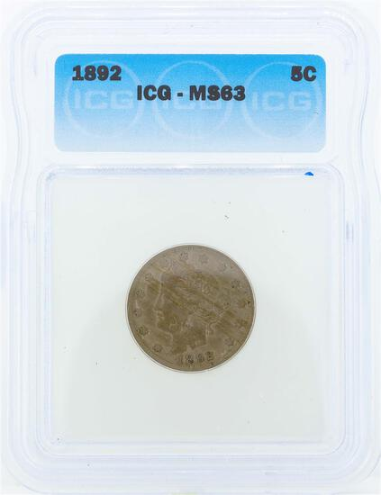1892 Liberty Head Nickel Coin ICG MS63