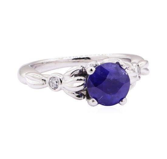 1.90 ctw Blue Sapphire and Diamond Ring - Platinum