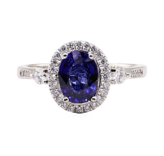 1.54 ctw Tanzanite and Diamond Ring - Platinum