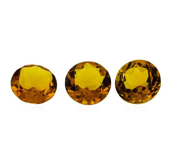 15.85 ctw.Natural Round Cut Citrine Quartz Parcel of Three