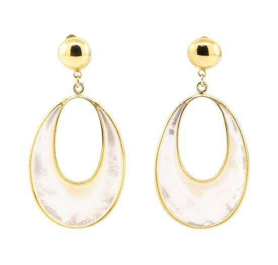 Mother of Pearl Dangle Earrings - 14KT Yellow Gold