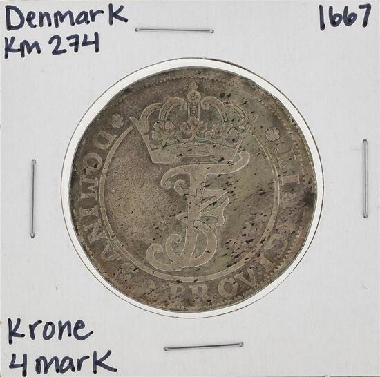 1667 KM274 Denmark Krone 4 Mark Coin
