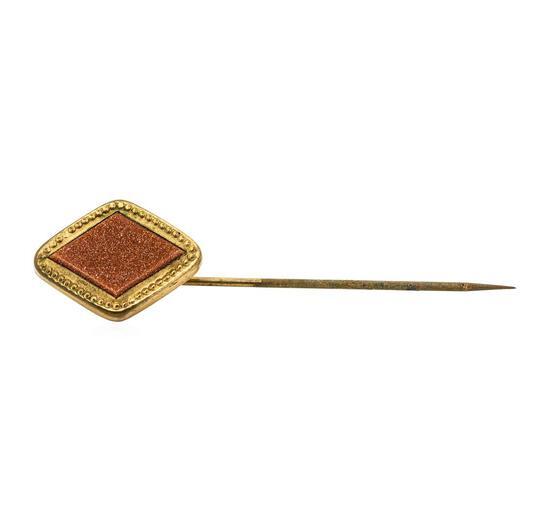 Gold Stone Stick Pin - Yellow Gold Plated