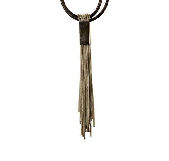 Leather/Mesh Tassel Necklace - Rhodium Plated