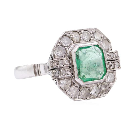 7.80 ctw Emerald And Diamond Ring And Earrings - 14KT White Gold