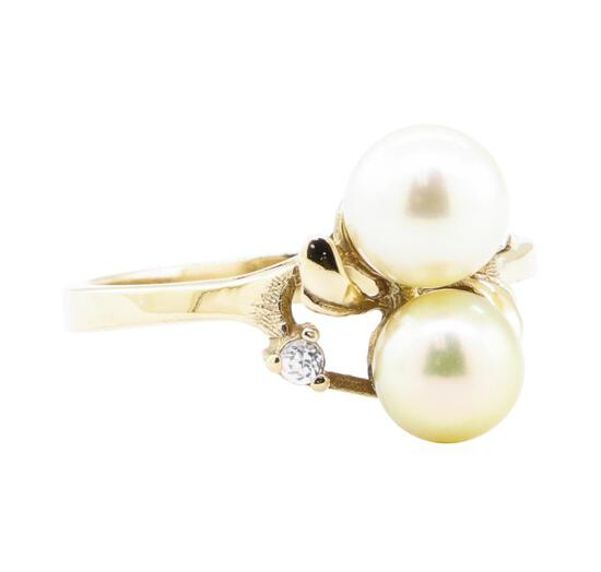 0.08 ctw Diamond and 7mm Round Cultured Pearl Ring - 14KT Yellow Gold