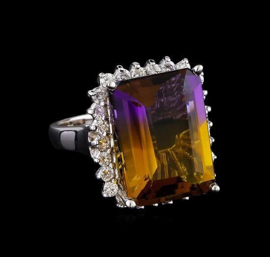 11.18 ctw Ametrine Quartz and Diamond Ring - 14KT White Gold