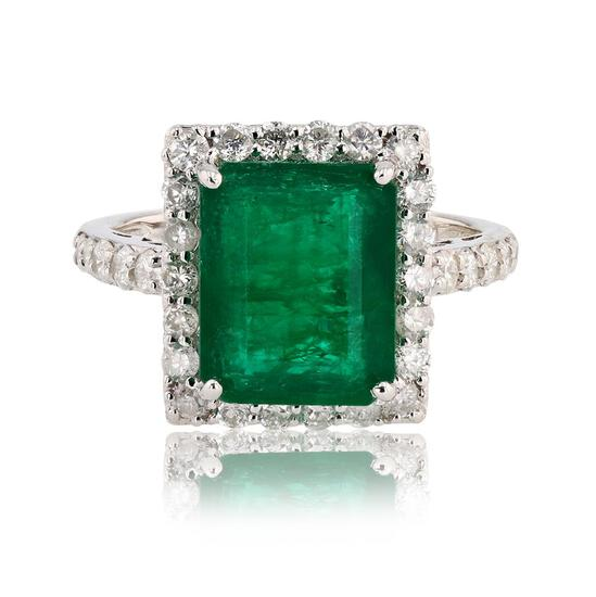 4.06 ctw Emerald and 1.10 ctw Diamond 14K White Gold Ring