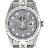 Rolex Mens Stainless Steel Meteorite Diamond 36MM Datejust Wristwatch