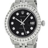 Rolex Mens Stainless Steel Black Jubilee 3 ctw Diamond Datejust Wristwatch 36MM