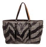 Coach Black Zebra Stripe Canvas & Leather Shoulder Bag