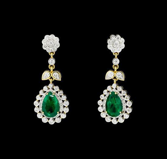 6.05 ctw Pear Brilliant Emerald And Round Brilliant Cut Diamond Earrings - 18KT