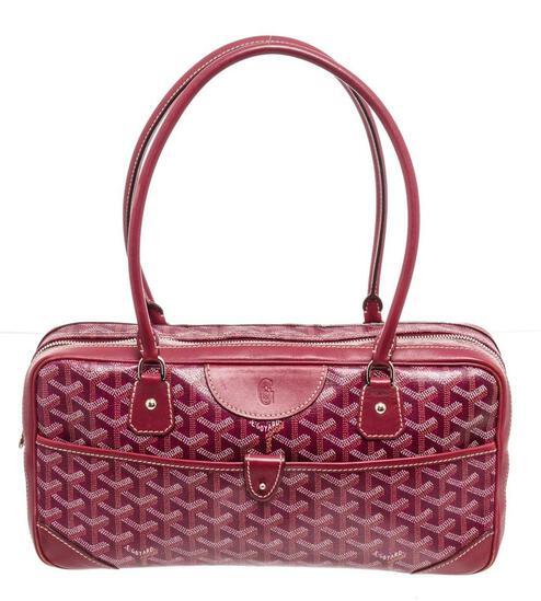 Goyard Burgundy Leather Print St. Martin Shoulder Bag